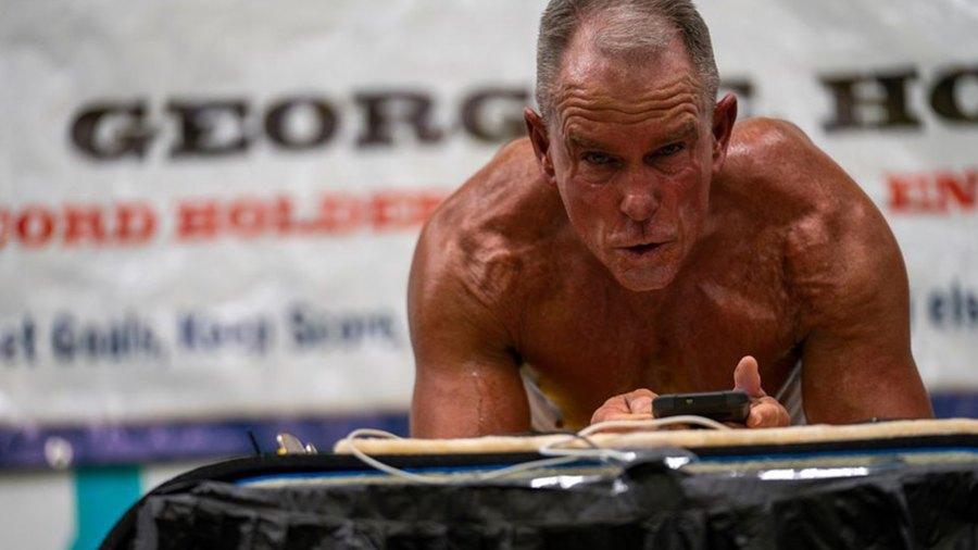 George Hood sets the longest plank record