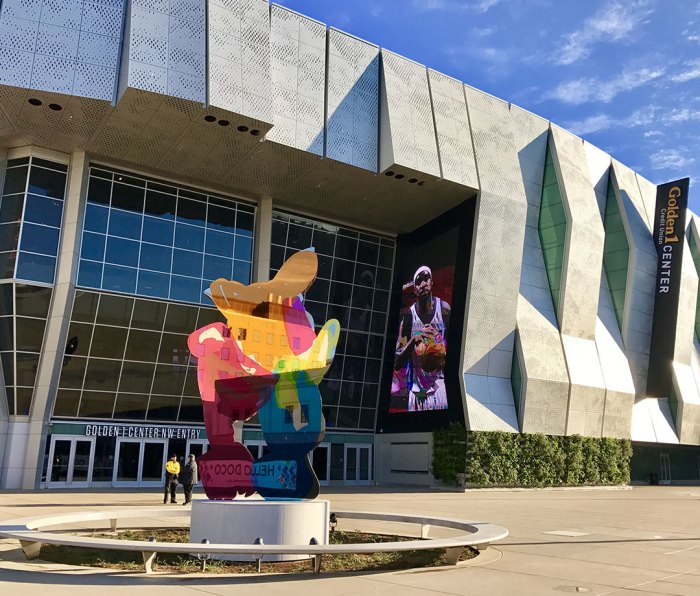The Jeff Koons sculpture in front of the Golden 1 Center arena