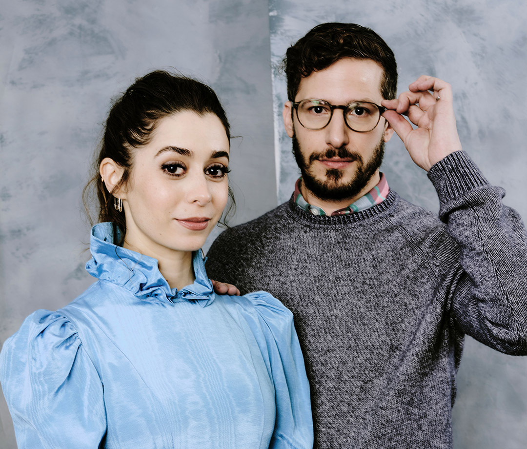"""Cristin Milioti and Andy Samberg, the stars of """"Palm Springs,"""" at the Sundance Film Festival in 2020"""