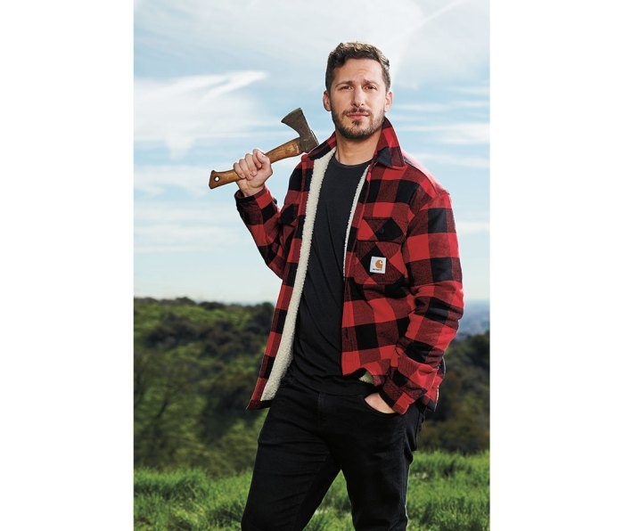 Samberg wears jacket by Carhartt. T-shirt by Paige. Jeans by J Brand.