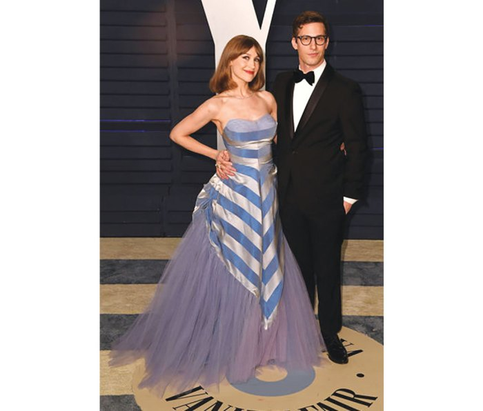 """Posing with his spouse, the indie rocker Joanna Newsom, at the 2019 """"Vanity Fair"""" Oscar Party."""