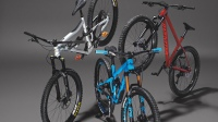 Ibis Ripmo AF GX, Specialized Fuse 27.5, and Pivot Switchblade Team XTR mountain bikes