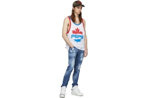 Dsquared2 White Pepsi Edition Cool Fit Tank Top