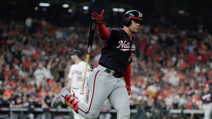 World Series Nationals Astros Baseball, Houston, USA - 29 Oct 2019 Washington Nationals' Juan Soto hits a home run during the fifth inning of Game 6 of the baseball World Series against the Houston Astros, in Houston 29 Oct 2019 Image ID: 10459954bu Featured in: World Series Nationals Astros Baseball, Houston, USA - 29 Oct 2019 Photo Credit: David J Phillip/AP/Shutterstock