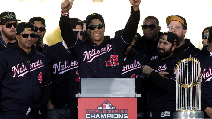 Nationals Spring Preview Baseball, Washington, USA - 02 Nov 2019 Washington Nationals left fielder Juan Soto, center, celebrates with teammates during a rally following a parade to celebrate the team's World Series baseball championship over Houston Astros in Washington. The Nationals head to spring training with mostly the same squad that won the World Series. They are counting again on being led by a star-studded rotation featuring Max Scherzer and Stephen Strasburg, along with slugger Soto 2 Nov 2019 Image ID: 10550675a Featured in: Nationals Spring Preview Baseball, Washington, USA - 02 Nov 2019 Photo Credit: Jose Luis Magana/AP/Shutterstock