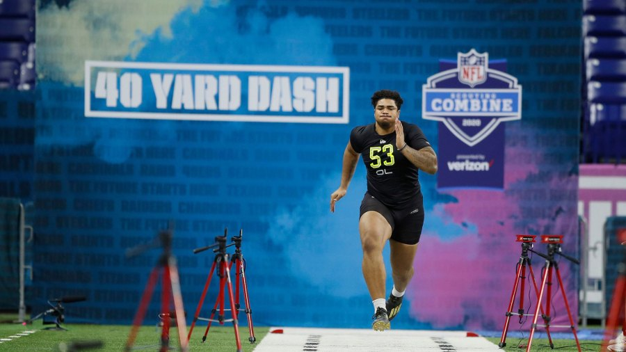 NFL Combine Football, Indianapolis, USA - 28 Feb 2020 Iowa offensive lineman Tristan Wirfs runs the 40-yard dash at the NFL football scouting combine in Indianapolis 28 Feb 2020