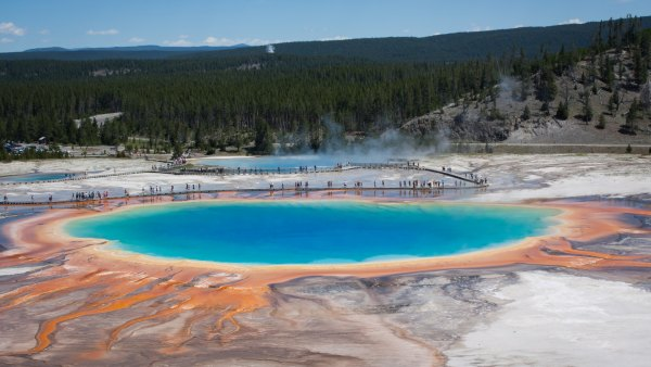Grand Prismatic Spring in Yellowstone National Park, Wyoming, US; Yellowstone Caldera