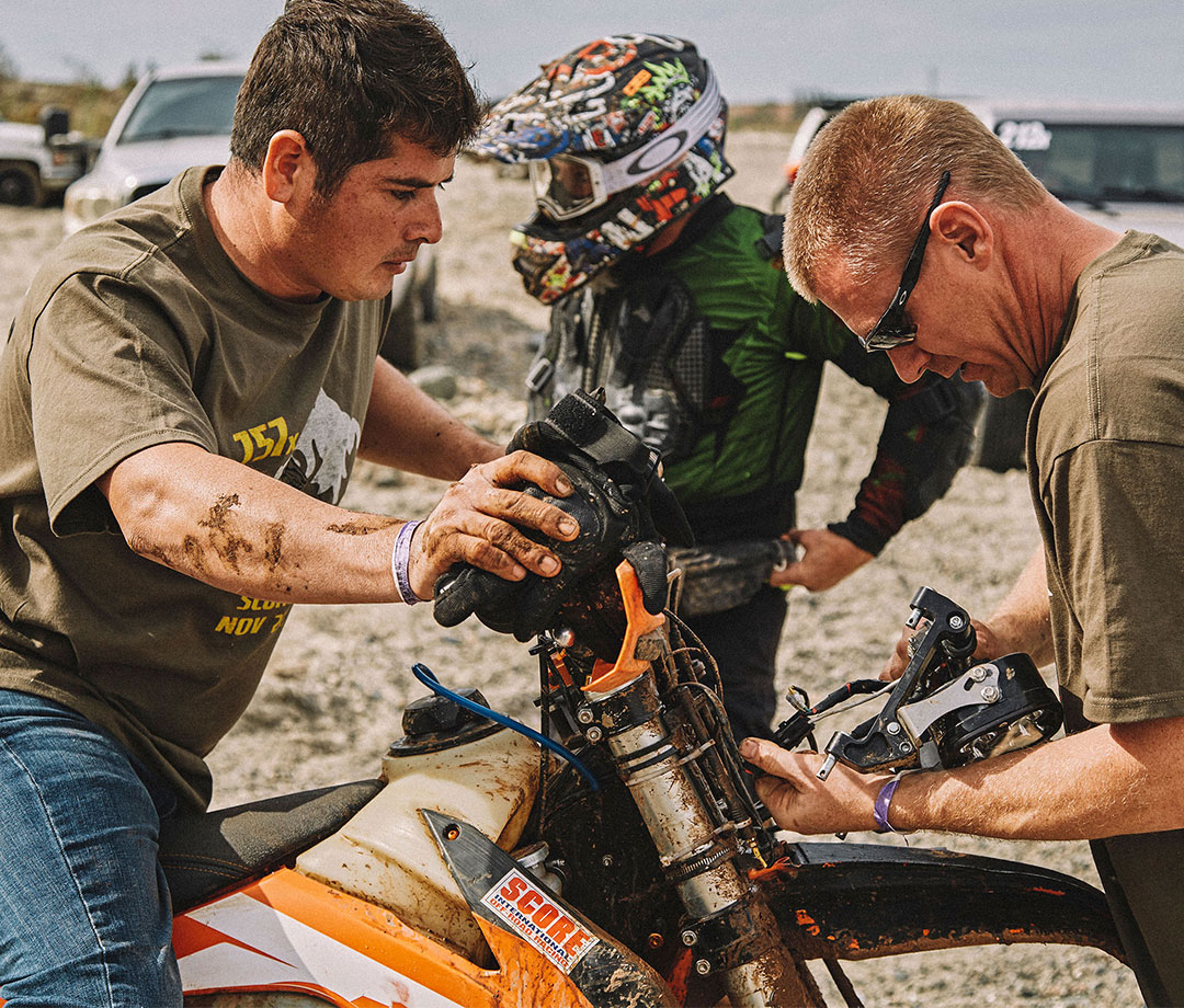 Thornton's team repaired his bike multiple times at six pit stops along the course.