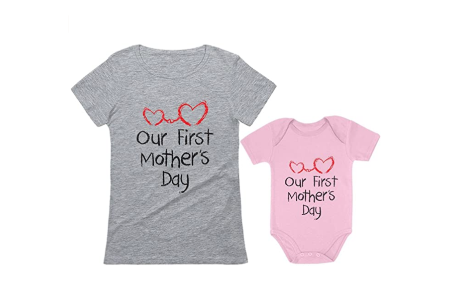 Tstars Our First Mother's Day Outfit for Mom & Baby Matching Set
