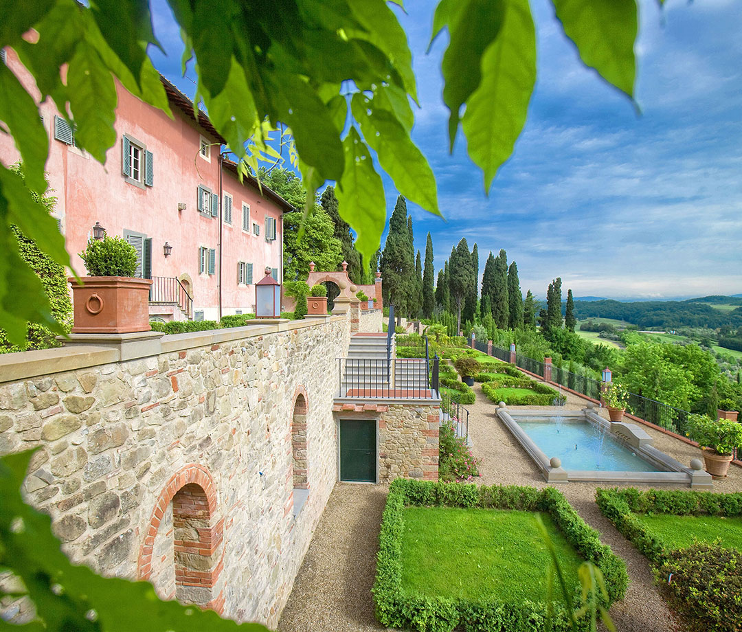 The grounds at 14th-century Villa Barberino in Tuscany