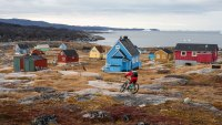 Riding outside the town of Ilulissat, 180 miles north of the Arctic Circle.