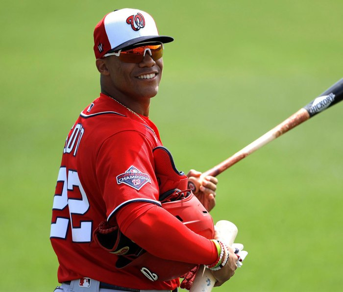 Washington Nationals left fielder Juan Soto reacts to comments by Miami Marlins players as he heads to the dugout prior to a spring training baseball game