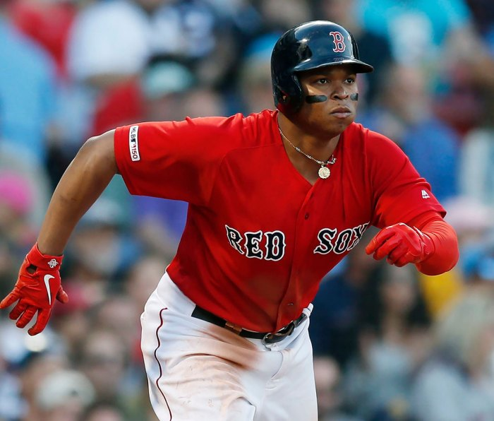 Boston Red Sox's Rafael Devers plays against the Baltimore Orioles during the seventh inning of a baseball game in Boston