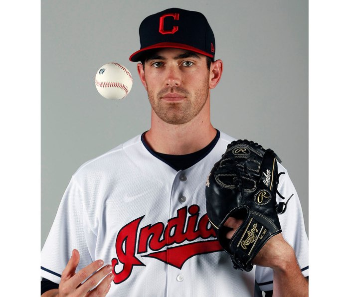 Shane Bieber of the Cleveland Indians tossing baseball