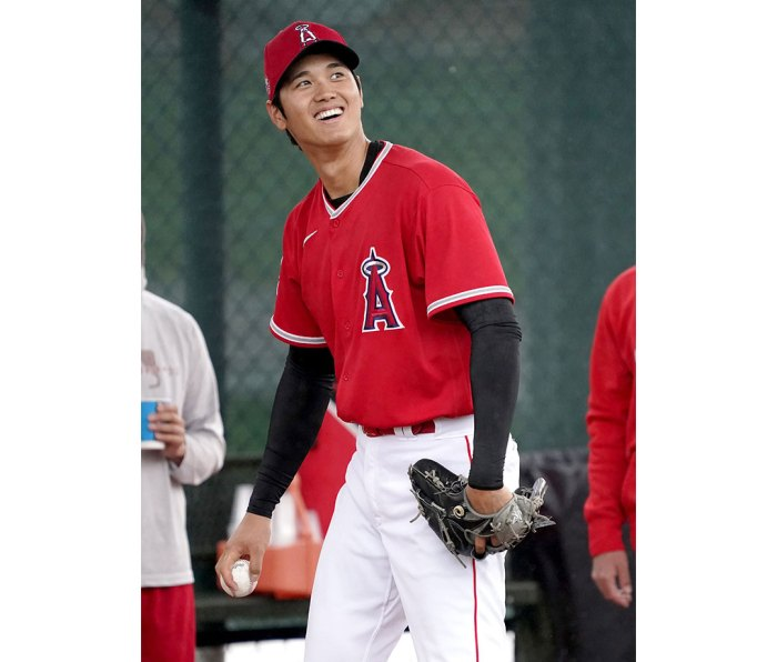 Shohei Ohtani of the Los Angeles Angels during the Major League Baseball spring training baseball workouts in Tempe, Arizona
