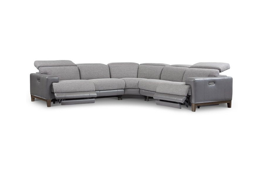 Madiana 5-Pc. Fabric and Leather Sectional with 2 Power Recliners