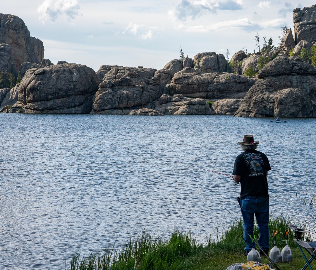 Sylvan Lake in the Black Hills of South Dakota is a beautiful vacation destination for fishing and hiking