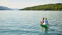 Couple canoeing on Lake Canandaigua