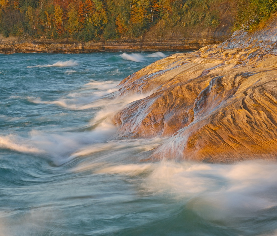 Sandstone shoreline of Lake Superior at Pictured Rocks National Lakeshore, autumn, Michigan's Upper Peninsula, USA