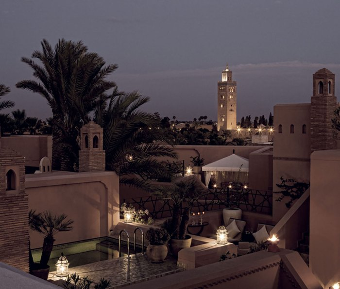 A riad's private roof deck in Marrakech
