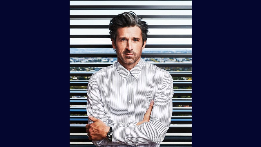 Patrick Dempsey photographed by Nigel Parry on February 10, 2020, in Los Angeles. Styling by Annie Jagger. Grooming by Jill Dempsey. Production by Cool Hunt, Inc. Dempsey wears a vintage Tag Heuer Autavia. Clothes his own.