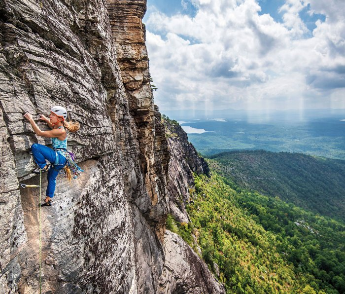Katie Hughes climbing Linville Gorge route