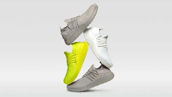 Lane Eight sustainable Trainer AD 1 in cloud white, electric neon, and lunar grey
