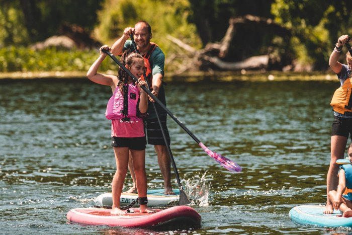 family SUP standup paddleboarding