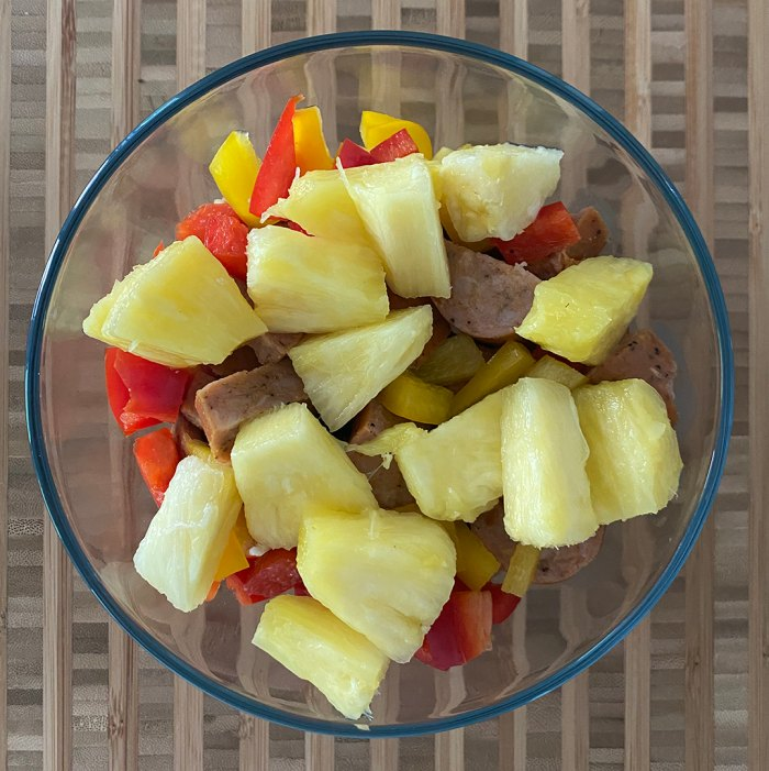 Rice Sausage Peppers Pineapple Bowl