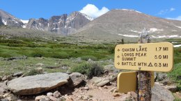 Fourteener trail trail up to Longs from Rocky Mountain National Park.