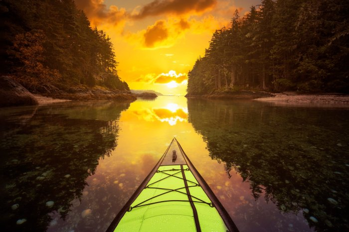 Inflatable kayaking near Port Hardy, BC, Canada, sunset