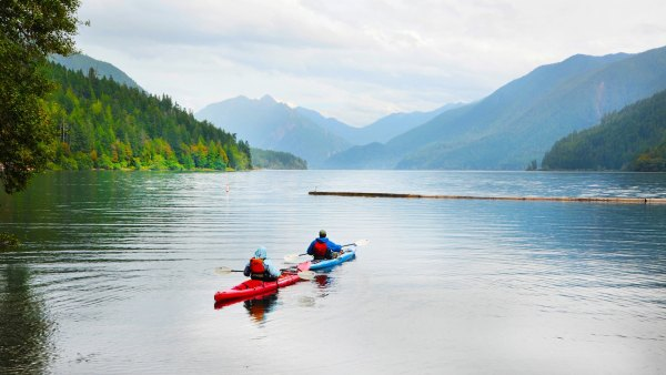 kayaking on Crescent Lake Olympic National Park