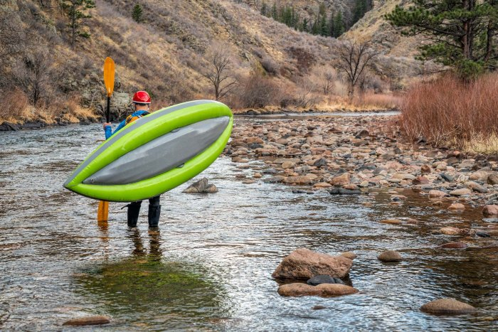 Inflatable kayaking Paddling low flows on the Poudre River above Fort Collins, CO.