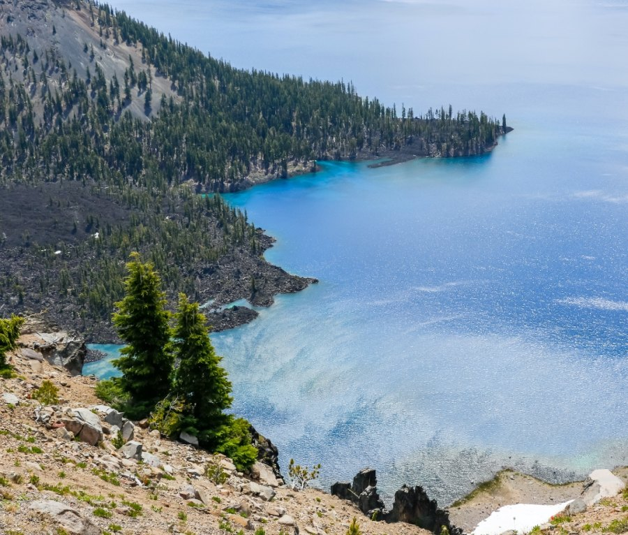 Beautiful Nature in Summer Season at Crater Lake National Park Famous Tourist Attractions in Oregon