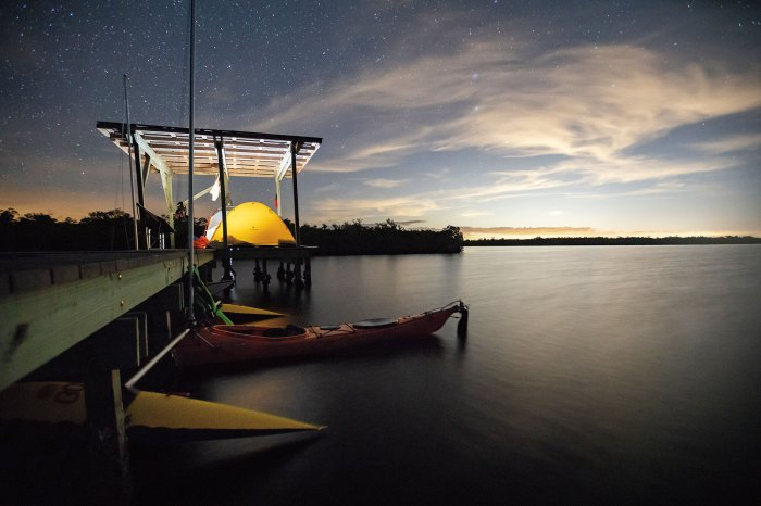 The team sails sea kayaks across the national park, including a night on a chickee tent platform.