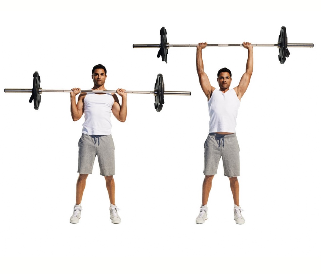 Standing military press with barbell