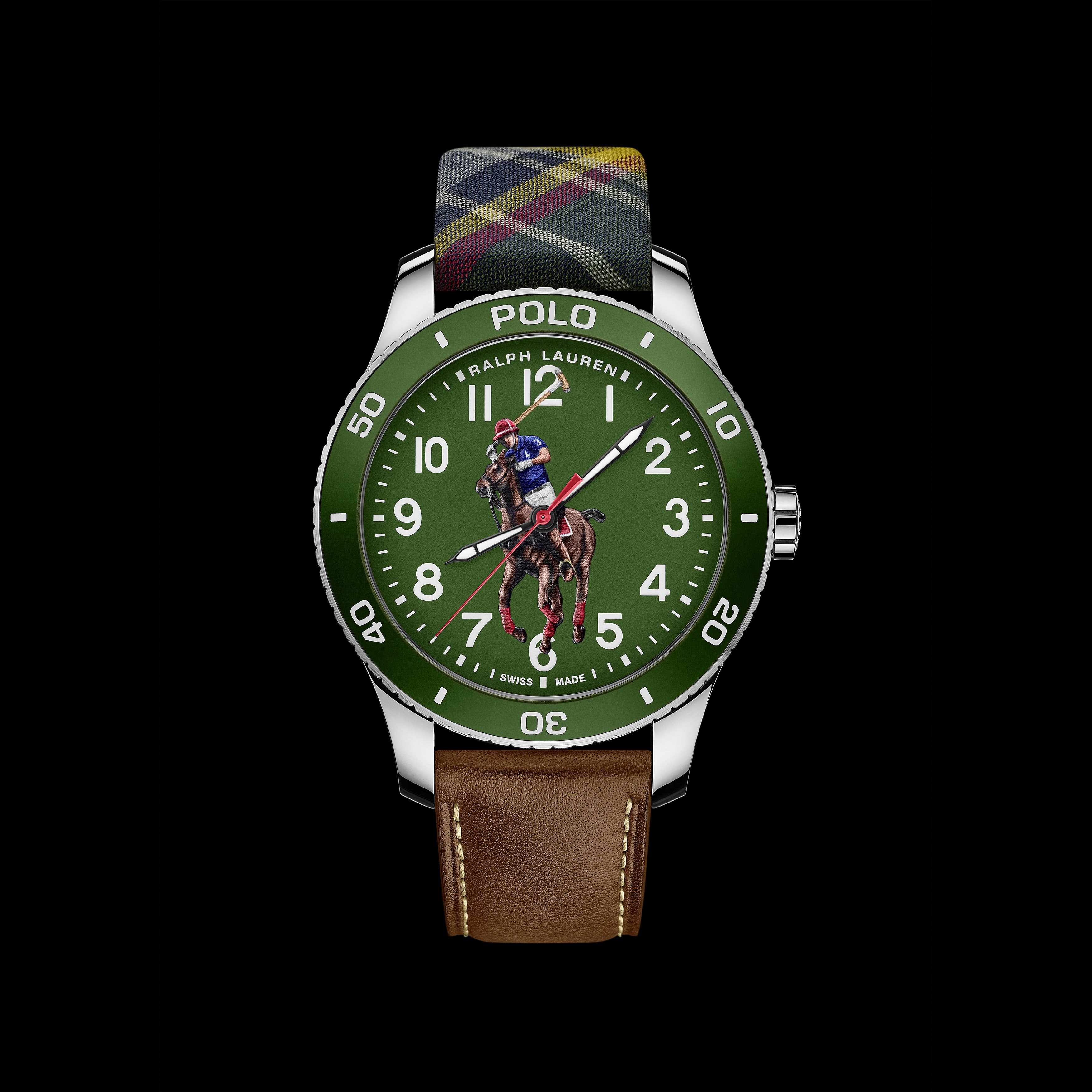 Polo Watch - Green on silk & calf
