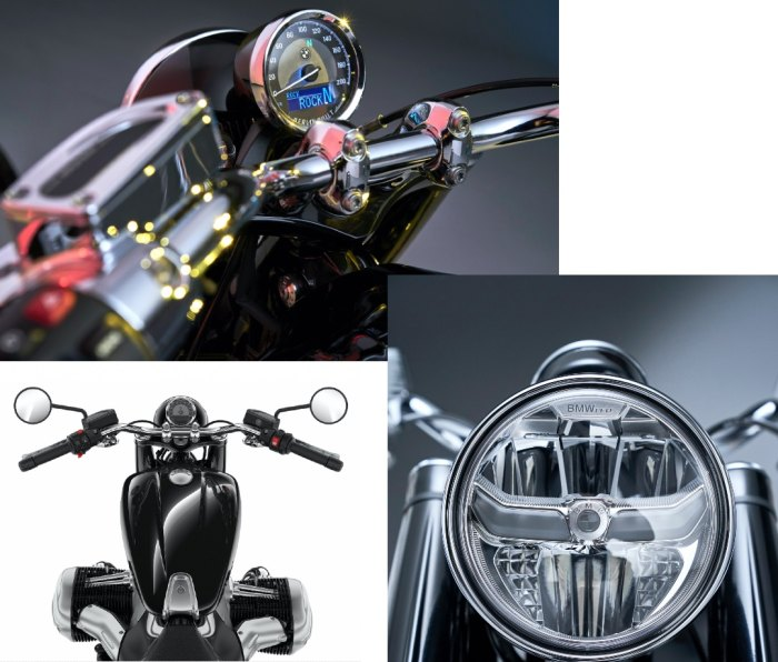 Closeups of the BMW R 18, including the oil-and-air-cooled engine's giant cylinder heads protruding from the bike; the mid-mounted foot pegs are just behind them. The rear end presents like a hardtail bike, but its design actually hides a shock.