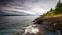 Sunset over Rock Harbor at Isle Royale National Park in Michigan.