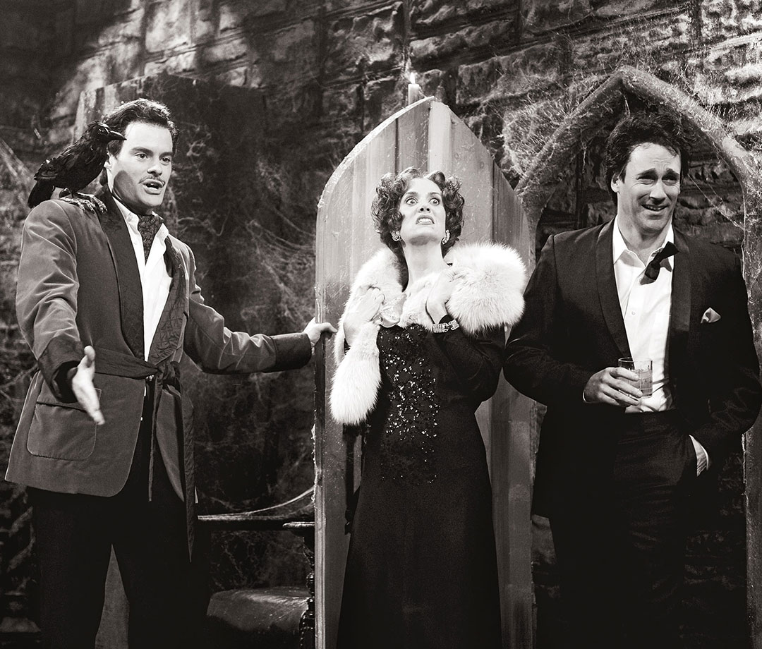 Bill Hader as Vincent Price, Kristen Wiig as Gloria Swanson, Jon Hamm as James Mason during the 'VIncent Price's Halloween Special' skit on October 25, 2008