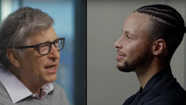 Bill Gates answers one of Steph Curry's mock job interview questions.