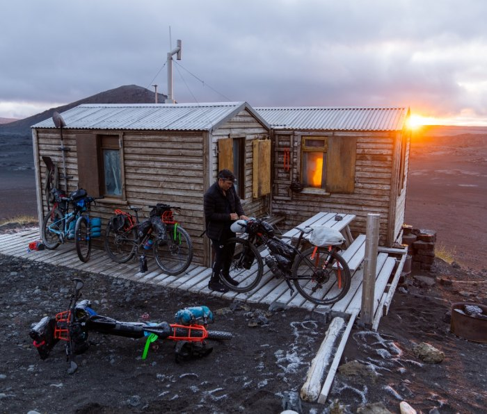 Chris Burkard and crew resting for the night before continuing on their traverse of Iceland.
