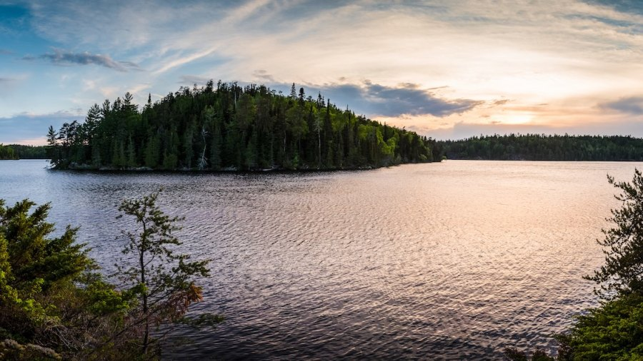 Sunset in the boundary waters canoe area Minnesota