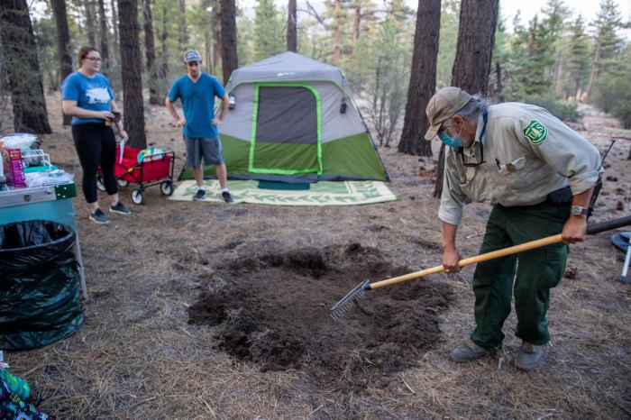 Camping in Holcomb Valley Big Bear campfire ring precaution