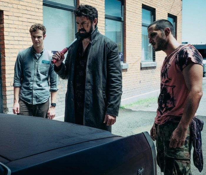 Hughie Campbell (Jack Quaid), Billy Butcher (Karl Urban), and Frenchie (Tomer Capon) in season 1 of 'The Boys'
