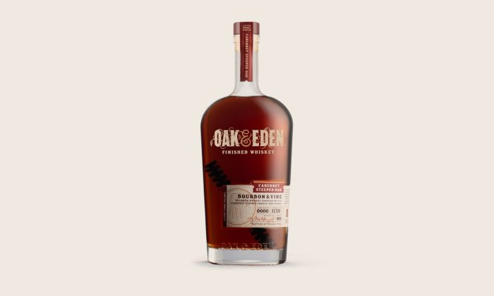 Oak & Eden's Cabernet-Infused Bourbon makes a great autumn addition to your bar cart.