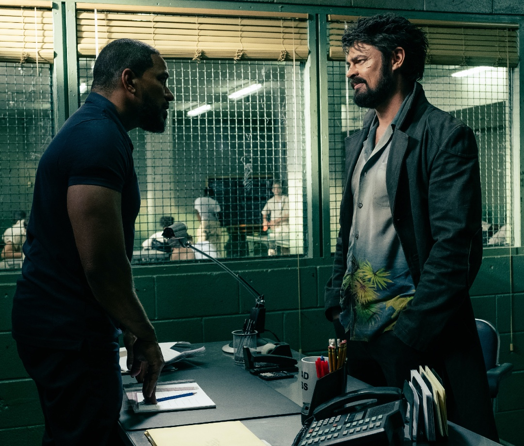 Laz Alonso and Karl Urban on set of 'The Boys'