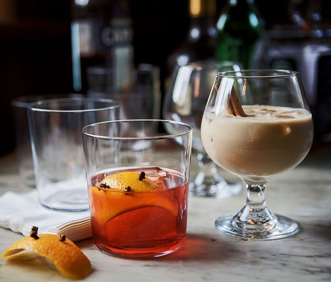 Boulevardier and Brandy Alejandro holiday cocktails