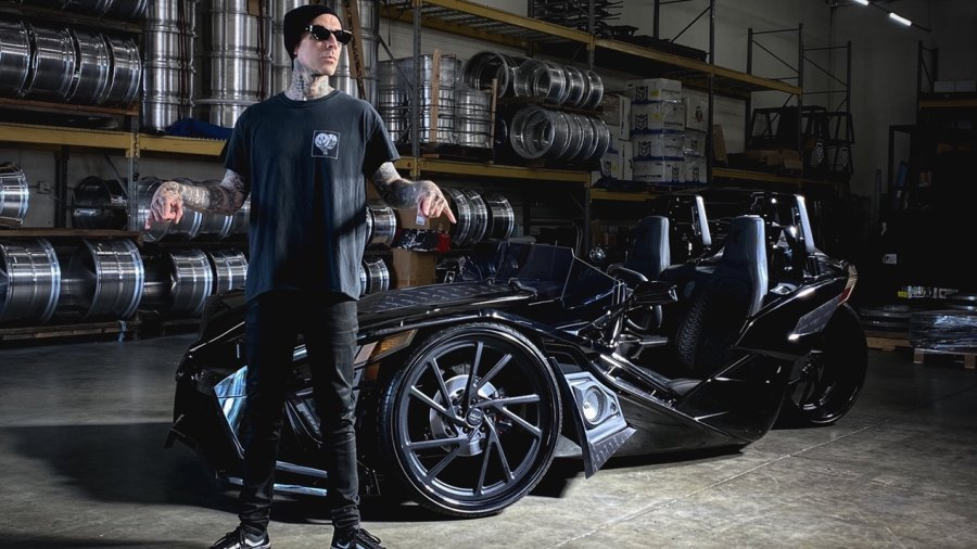 Travis Barker teamed up with DUB to represent the West Coast in the Polaris Slingshot West vs. East Build-Off.