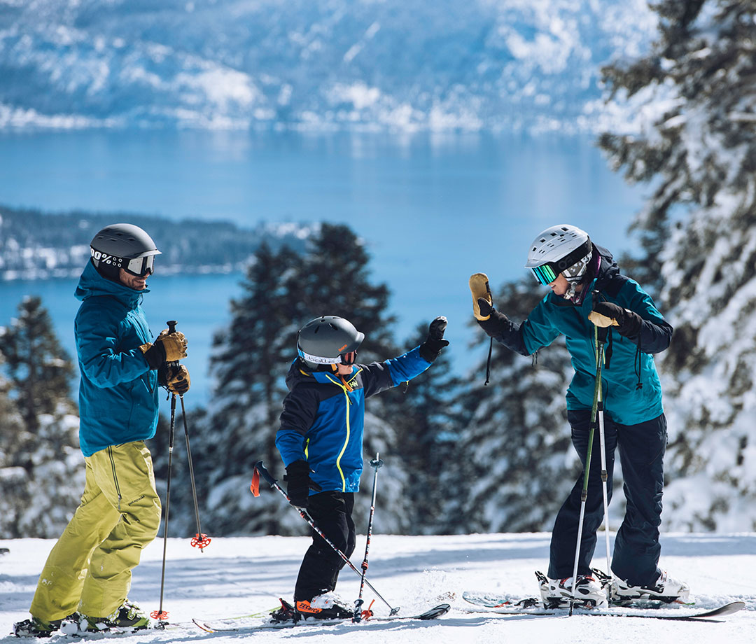 Family skiing at Northstar California resort